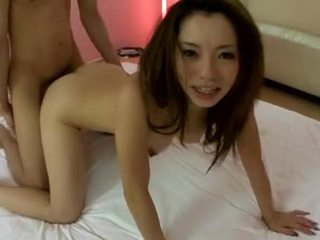 Reina Yoshii and her big tits in hardcore threesome play
