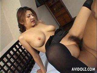 Busty Japanese stunner wants it stiff