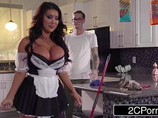 Nerdy Guy Detects Asian  August Taylor, a Buxom Fresh Maid in his Mansion