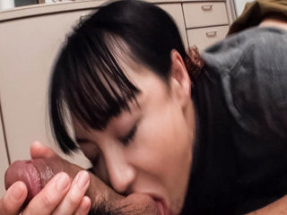 Miho Wakabayashi in the kitchen on her knees tonguing dick